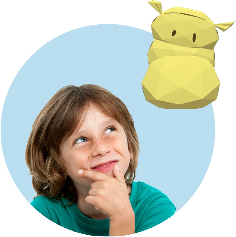 Boy with hand on chin looking up at yellow puppet character