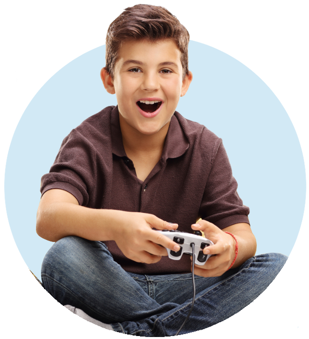 Boy with game controller