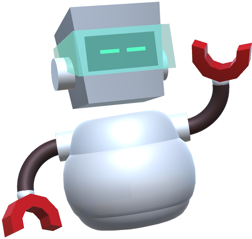 Robot with green visor and horseshoe shaped hands