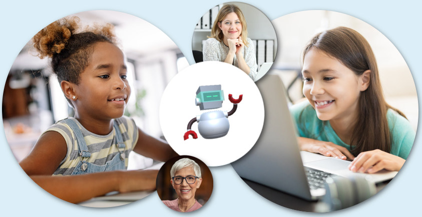 kids educators professionals using digital tool to storytell