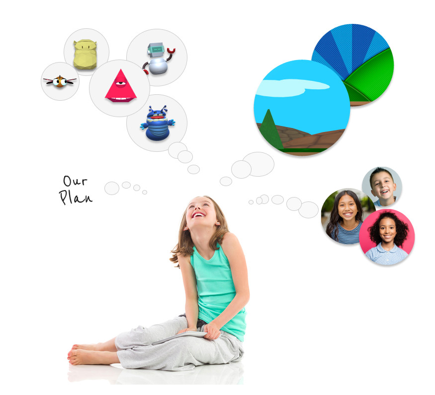 little girl looking at groupings of puppets, backgrounds and friends